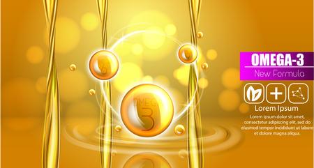 Fish oil ads template, omega-3 . oil drops 3D illustration. Realistic illustration vitamin natural, concept design. 向量圖像
