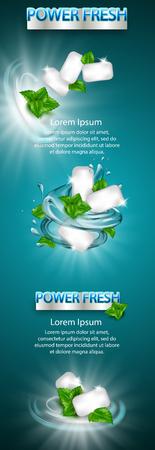 mint flavor gum ad with leaf and water splash element,on light blue background, 3d illustration