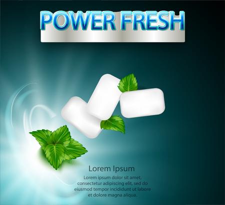 mint flavor gum ad with leaf mint on light blue background, 3d illustration Illustration