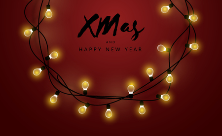 Glowing garland on a red background. Merry Christmas and Happy New Year inscription. New Year and Christmas stock vector illustration.