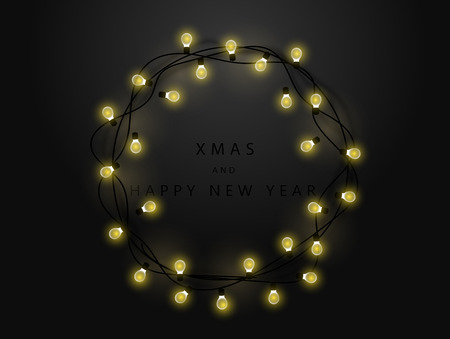 Glowing garland on a black background. Merry Christmas and Happy New Year inscription. New Year and Christmas stock vector illustration.