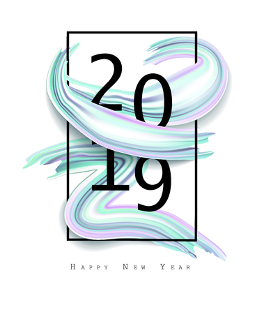 2019 New Year on the background of a colorful brushstroke oil or acrylic paint design element. Vector EPS10 Illustration
