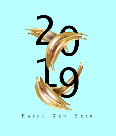 2019 New Year on the background of a gold brushstroke oil or acrylic paint design element. Vector EPS10 Vectores