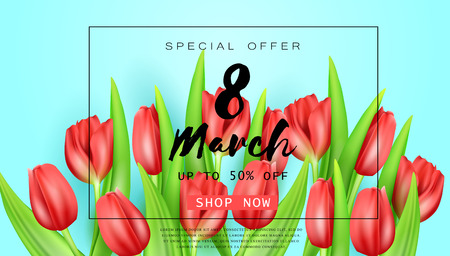 Vector romantic template of sale horizontal banner for Womens Day with realistic red tulips . Holiday light blue background with flower and text 8 March for discount and special offers.