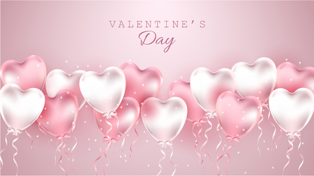 Happy Valentines day gift card illustration. realistic pink balloons on pink background.