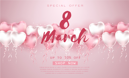 8 March Womens day illustration! Realistic pink beautiful balloons on pink background. Illustration