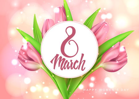 Vector romantic template of sale horizontal banner for Womens Day with realistic tulips . Holiday pink background with flower and text 8 March greeting card Illustration