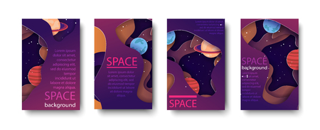 set colorful poster and banners colorful space in paper art style. Stock vector illustration Illustration