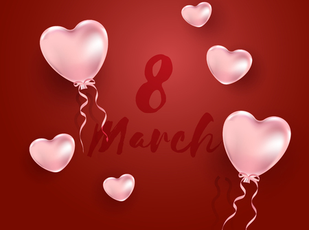 8 March Womens day illustration! Realistic pink balloons on red background