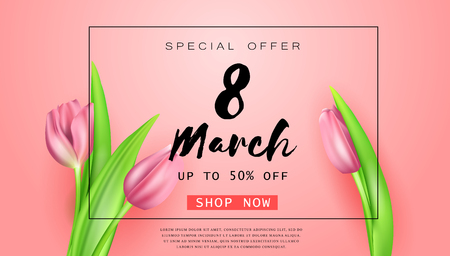 Vector romantic template of sale horizontal banner for Womens Day with realistic tulips . Holiday pink background with flower and text 8 March for discount and special offers.
