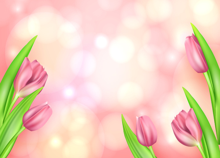 Spring flower beautiful background with realistic tulips. Vector illustration. Greeting spring card Illustration