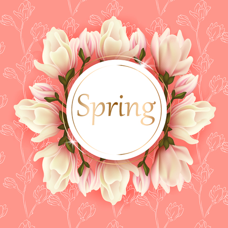 Nature background with blossom branch magnolia of pink flowers Vector
