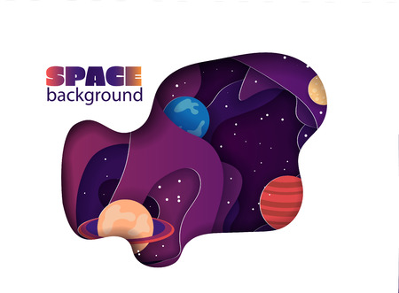 Paper cut space colorful background. planet and stars in paper art style.