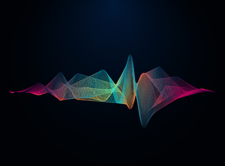 Sound and voice beautiful wave abstract background. Audio wave form vector illustration. Wave of musical soundtrack for record