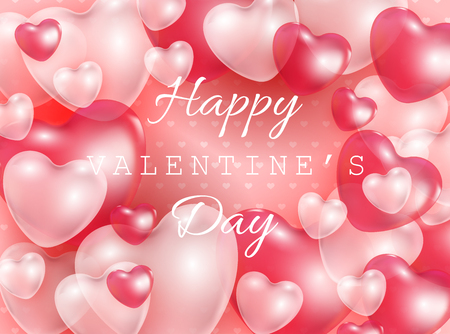 Happy Valentine Day gift card with red and pink 3d heart shapes transparent balloons - vector illustration of romantic. Beautiful love festive poster for 14 February. Illustration