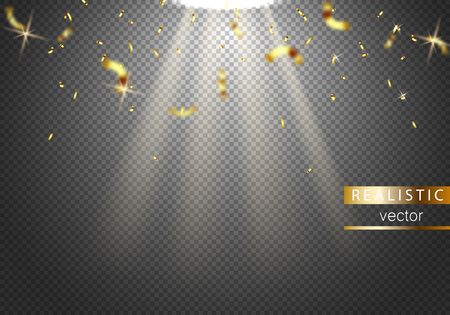 Abstract background with falling golden confetti pieces. vector background