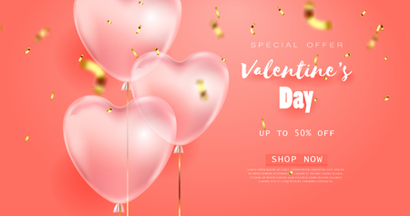 coral color background, beautiful realistic 3D balloons in the shape of a heart and confetti, a voucher, advertising discounts, a website banner for Valentines Day.