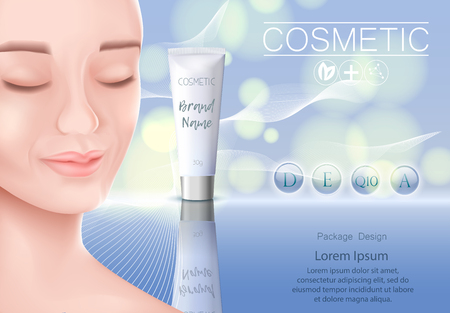 Cosmetic template, banner, bottles, cosmetics for face care, realistic female face with eyes closed. Illustration