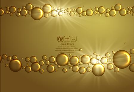 Beauty skin care design over golden backdrop. Vector illustration.Shining golden essence droplet.Bubbles oil Serum Skin Care Cosmetic.Collagen Sollution. Ilustracje wektorowe