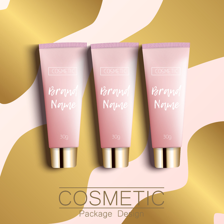 Realistic 3D template design cosmetics packaging. Tube cream is a bright, fashionable, youthful background, a top view. Advertising of fashionable cosmetics. Vector illustration. Illustration