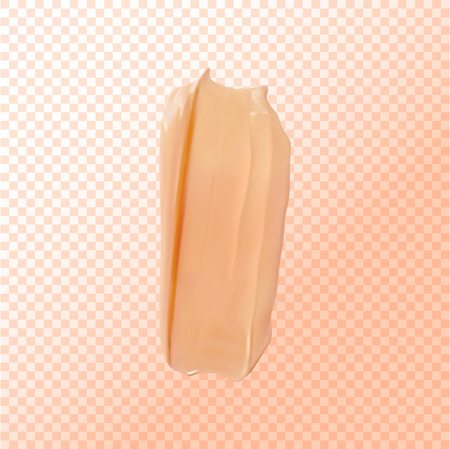 Foundation smear texture, close up tone cream on transparert background for cosmetic use in 3d illustration