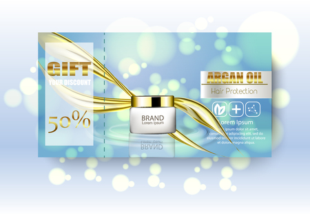 Gift vaucher cosmetics. Discount poster. Package design template. Ads vector realistic illustration 3d.