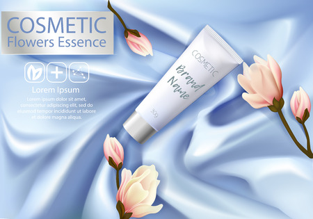 Cosmetic ads Design Template. Realistic tube cream and flowers magnolia on silk texture background. Beautiful Premium stock vector illustration. Package 3d design.