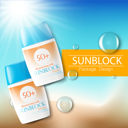 Sunblock ads template, sun protection cosmetic products. 3D vector illustration for magazine or ads.Bottle products design with moisturizer milk, cream or liquid.