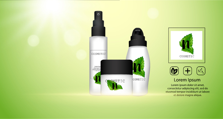 Set of cosmetic packaging with black caps. Cosmetic package for cream, shampoo, liquid soap and spray natural cosmetic template.