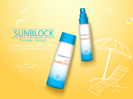 top view sunplock sun protection cream and spray realistic ads 3d cosmetic package with hand draw doodle element. Illustration