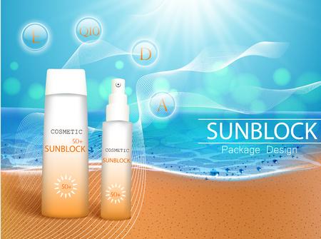 Ilustración de vector. Botellas 3d con productos cosméticos de protección solar en la playa tropical. Crema protectora solar y botella de spray de aceite bronceador. Plantilla, para revistas o anuncios, folletos, volantes, pancartas. Ilustración de vector