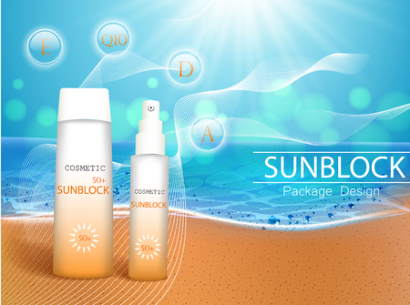 Vector illustration. 3d bottles with sun protection cosmetic products on tropic beach. Sunblock cream and tanning oil spray bottle. Template, for magazine or ads, brochure, flyer, banner.