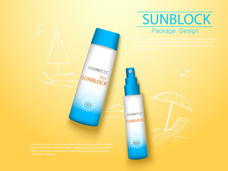 top view sunplock sun protection cream and spray realistic ads 3d cosmetic package with hand draw doodle element. Ilustracja