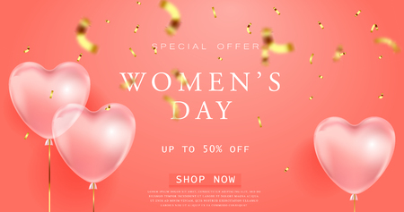 coral color background, beautiful realistic 3D balloons in the shape of a heart and confetti, a voucher, advertising discounts, a website banner for womens day. 8 march illustration