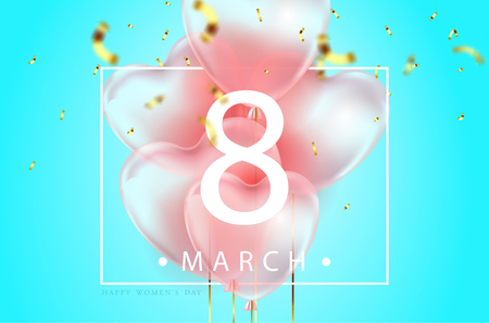 blue color background, beautiful realistic 3D balloons in the shape of a heart and confetti, a voucher, advertising discounts, a website banner for womens day. 8 march illustration