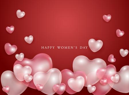Happy Women's Day Geschenkkarte mit roten und rosa 3D-Herzen formt transparente Ballons - Vektor-Illustration der Romantik. Schönes festliches Liebesplakat für den 8. März.