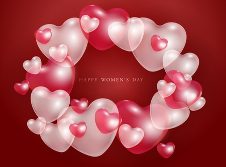 Happy Womens day gift card with red and pink 3d heart shapes transparent balloons - vector illustration of romantic. Beautiful love festive poster for 8 march.