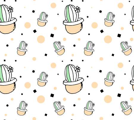 cute hand-drawn seamless pattern with cactus Illustration