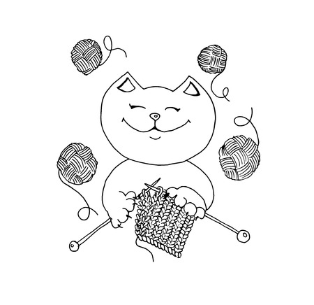 Cute cat knits with threads in hands, hand drawn vector illustration.