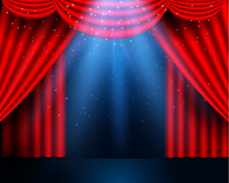 Red curtains partires theater scene. Theater stage, festival and celebration background. glowing stage lights