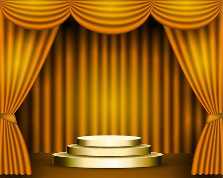 The gold curtains are the porters of the theater stage, and the golden podium has three steps. Pedestal awards festive solemn background. vector stock illustration