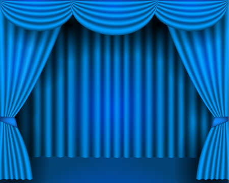 Blue curtains partires theater scene Theater stage, festival and celebration background.