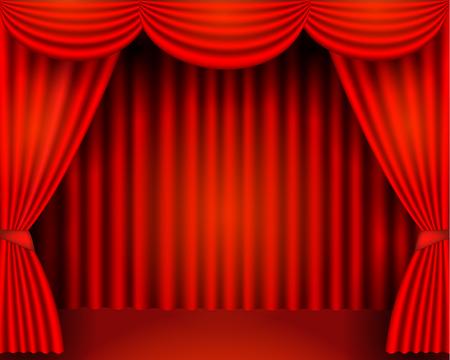 Le tende rosse sono i facchini del palcoscenico del teatro, illustrazione di stock vettoriale Vettoriali