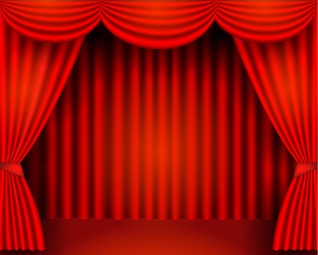 The red curtains are the porters of the theater stage, vector stock illustration Ilustrace