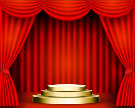 Las cortinas rojas son los porteros del escenario del teatro, y el podio dorado tiene tres escalones. Premios de pedestal festivo fondo solemne. ilustración vectorial de stock