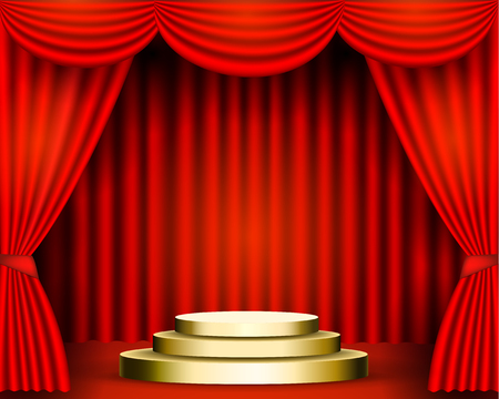The red curtains are the porters of the theater stage, and the golden podium has three steps. Pedestal awards festive solemn background. vector stock illustration