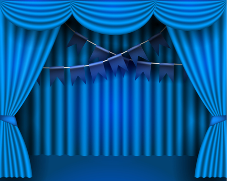 Blue curtains partires theater scene, and flags. Theater stage, festival and celebration background.