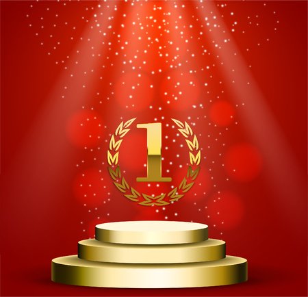 Business presentation podium of three steps with the track. Bright spotlights, first plase gold element. 3d rendering, vector graphics.
