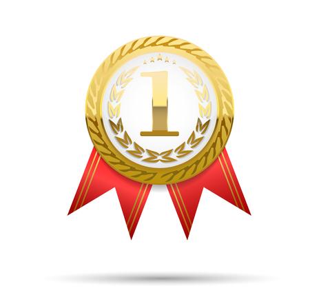 Realistic vector gold medal on red ribbon. Winner simbol. Vector illustration. first place illustration Ilustrace