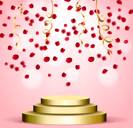Business presentation podium of three steps with the track. Bright spotlights. 3d rendering, vector graphics. Falling realistic rose petals and gold scene. Vector illustration.